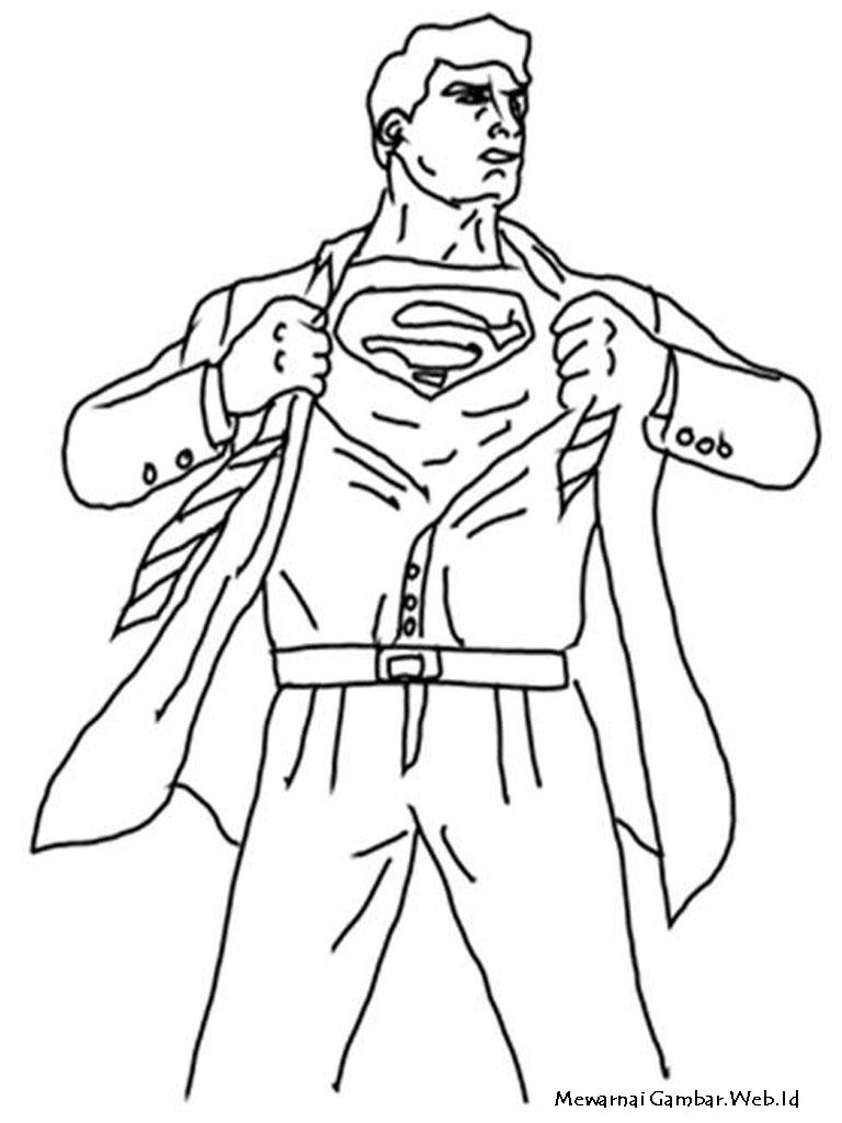 Gambar Superman Untuk Diwarnai