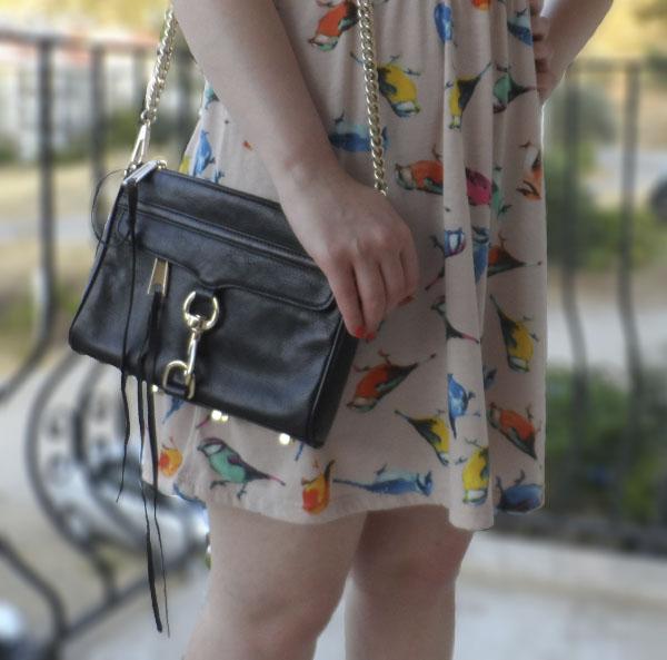 Dorothy Perkins Bird Print Dress, ASOS Black Sandals, Rebecca Minkoff Mini Mac