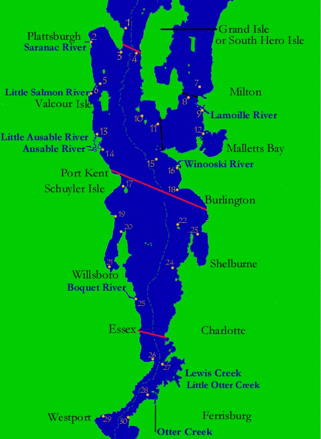 Map of lake champlain my blog for Salmon river ny fishing map