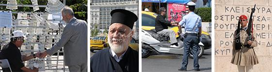 Venta de lotería, pope, policia y soldado en Atenas
