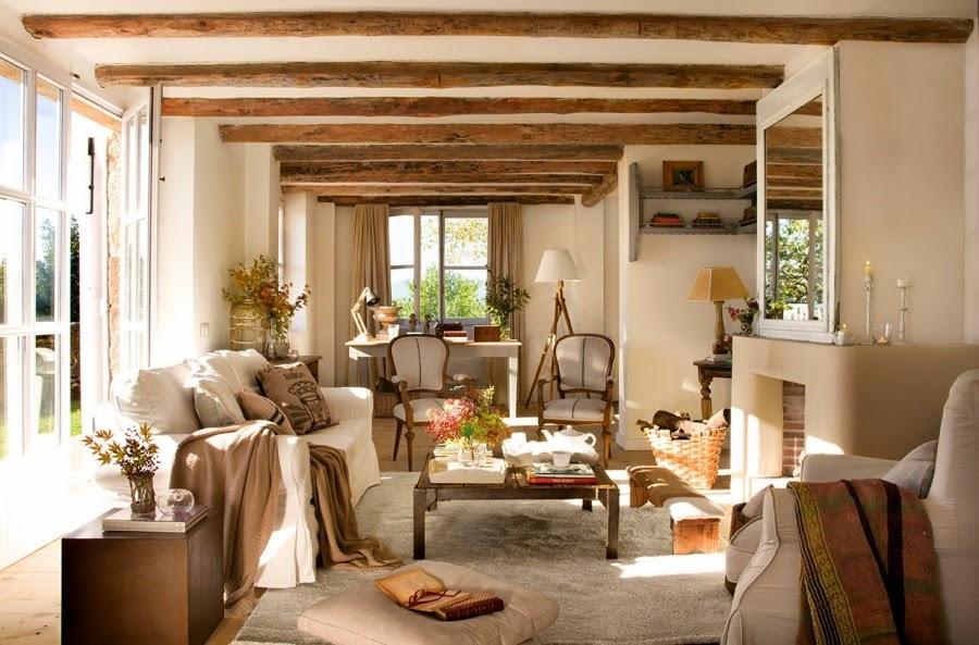 wystrój wnętrz, home decor, wnętrza, aranżacje, dekoracje, meble, dom, mieszkanie, styl rustykalny, styl francuski, szarości, stonowane kolory, salon, pokój, belki