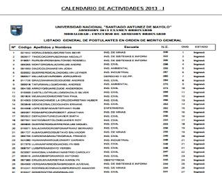 Ingresantes examen UNASAM 2015 I Examen Universidad Nacional Santiago Antunez de Mayolo UNASAM 22 de Marzo