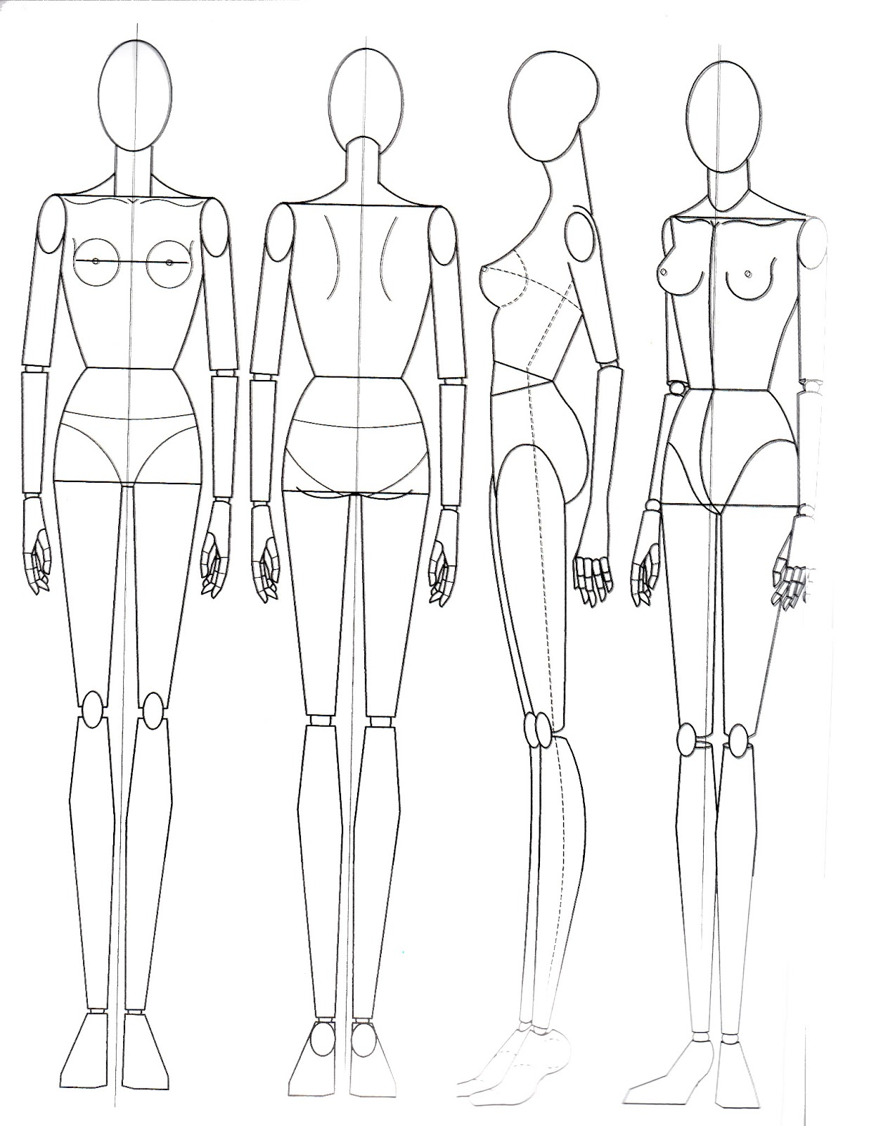Paper doll school the basics of anatomy for Fashion designing templates free download