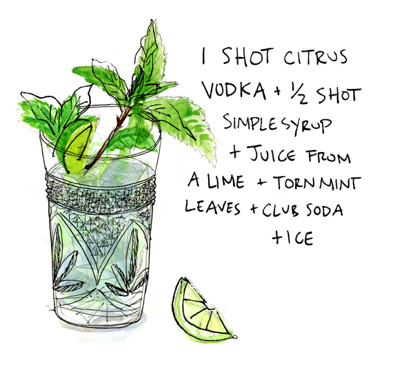 vodka mojitos illustration