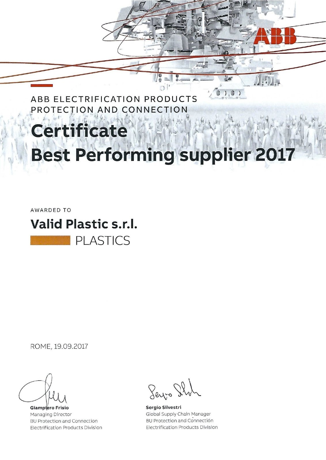 CERTIFICATE BEST PERFORMING 2017