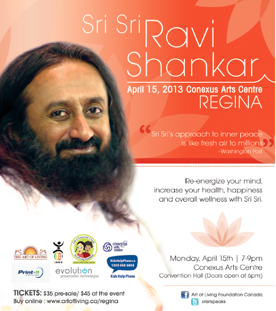 Sri Sri Ravi Shankar in Regina: April 2013