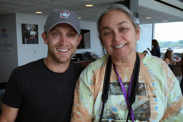 "Justin Moore and NASCAR Race Mom at the 2014 ""Your Hero's Name Here"" Race."