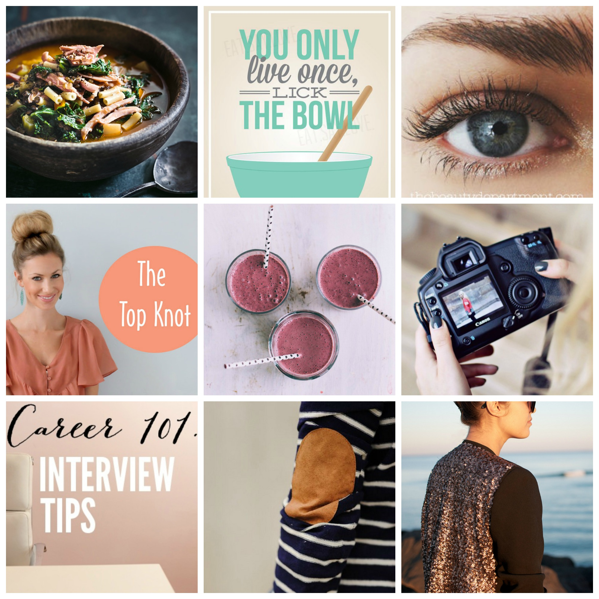 Pinterest Favorites of the Week, DIY Sequin Blazer, Breakfast Smoothie, Photography Tips, Interviewing tips