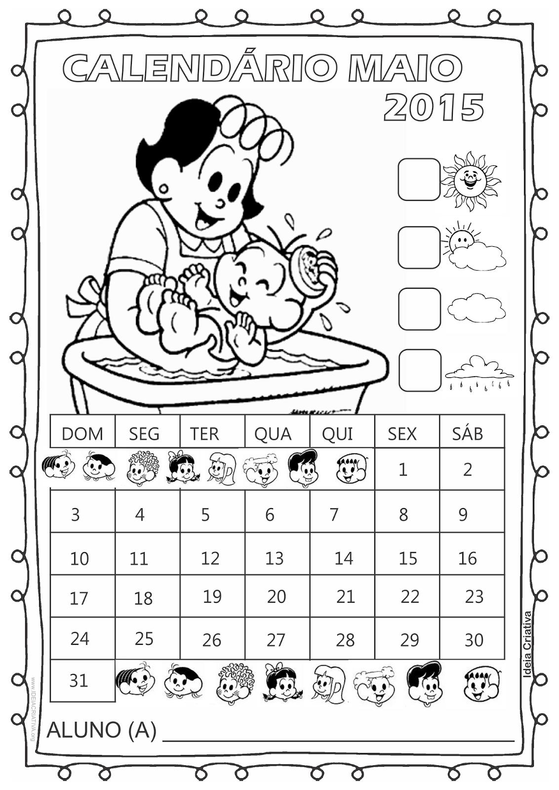 Calendário Turma da Mônica 2015 para Imprimir Grátis Abril dia das mães