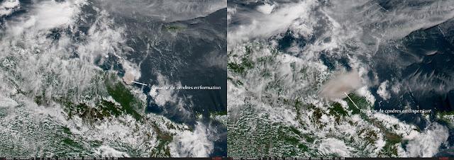 Le panache de cendres du volcan Manam, 31 juillet 2015