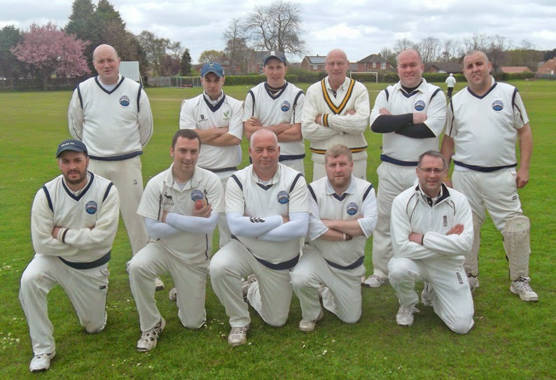 Brigg Town Cricket Club lining up before the first game back in the Lincolnshire County Cricket League - away to Broughton 2nds - April 19, 2014 - picture on Nigel Fisher's Brigg Blog