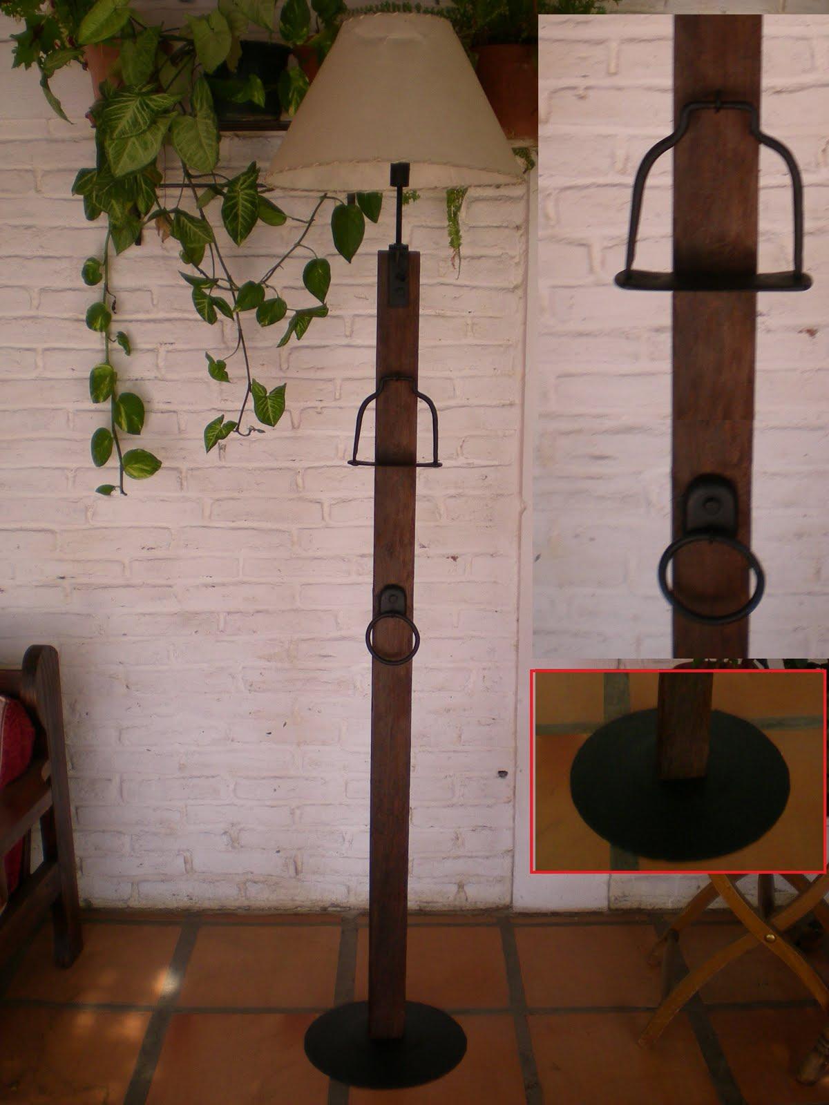 El fog n artesan as en madera r stica y hierro uruguay - Lamparas de pie rusticas de madera ...