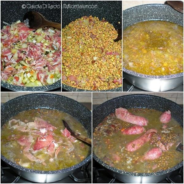 Zuppa di lenticchie con salsicce e prosciutto