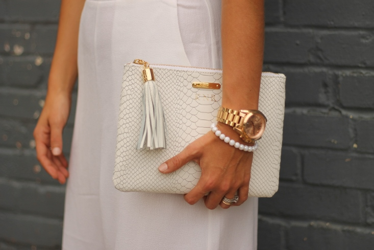 White Embossed Python Leather Bag with Tassel