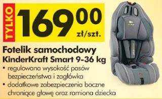 Fotelik samochodowy KinderKraft Smart z Biedronki ulotka
