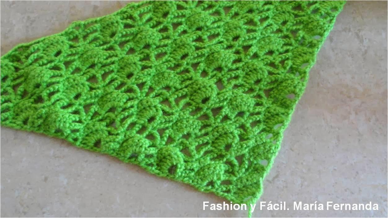 Fashion y Fácil : Tejido en triángulo punto abanico. Un punto fácil ...