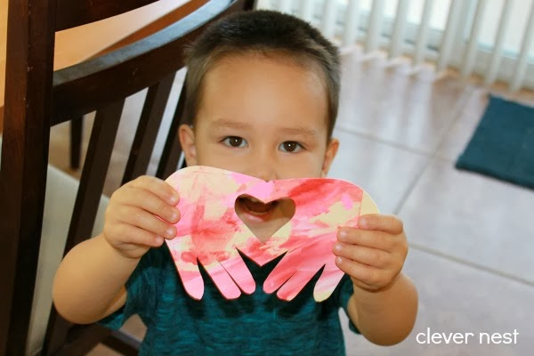 cute and easy Valentine for a Preschooler #heart #clevernest #hand_art