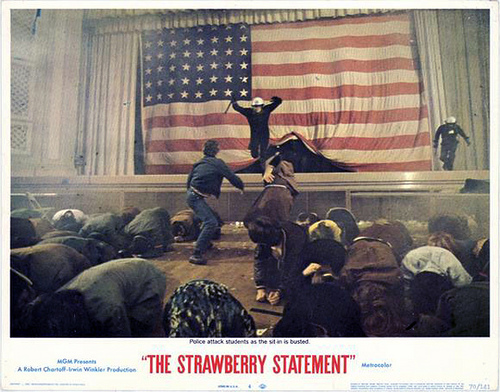 Student protest rally The Strawberry Statement 1970 movieloversreviews.blogspot.com