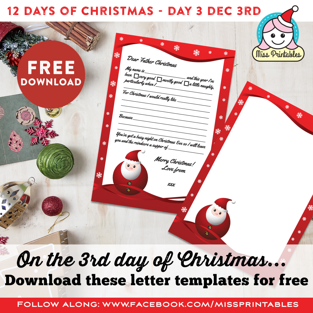 miss printables 12 days of christmas day 3 free santa letter printable. Black Bedroom Furniture Sets. Home Design Ideas