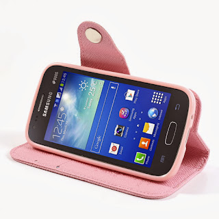 Leather Case Wallet with Stand and Card Slot Samsung Galaxy Ace 3 S7275 S7270 S7272 - Baby Pink
