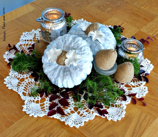 Vintage, Paint and more... Blue pumkin centerpiece diy'd with thrifted, painted pumpkins and twine wrapped pears