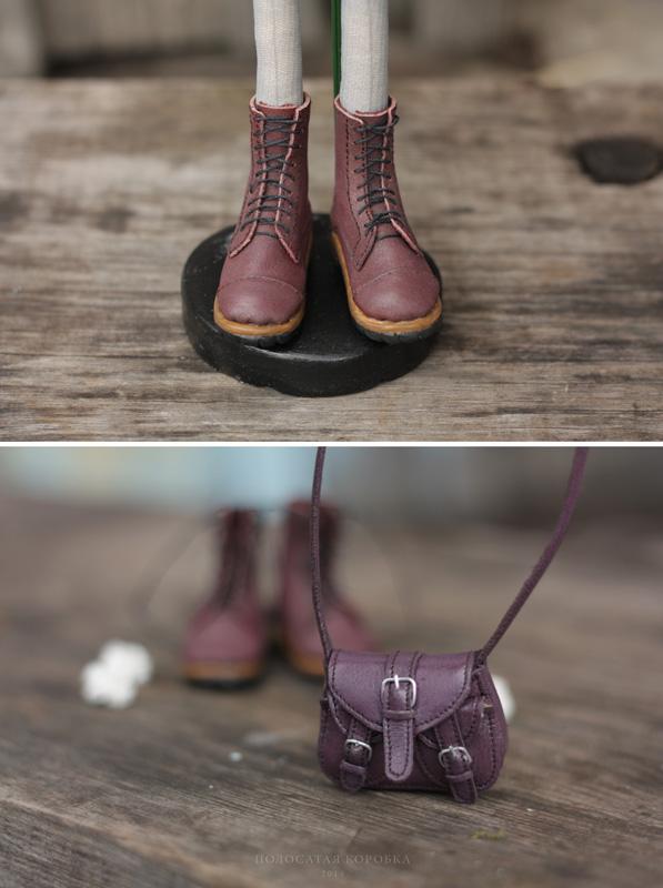 Миниатюрная сумка и ботинки для куклы