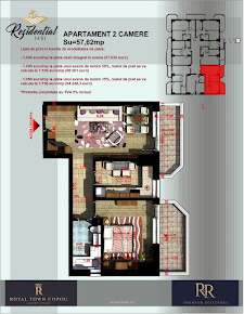 Apartament 2 camere decomandat - 57,62 mp