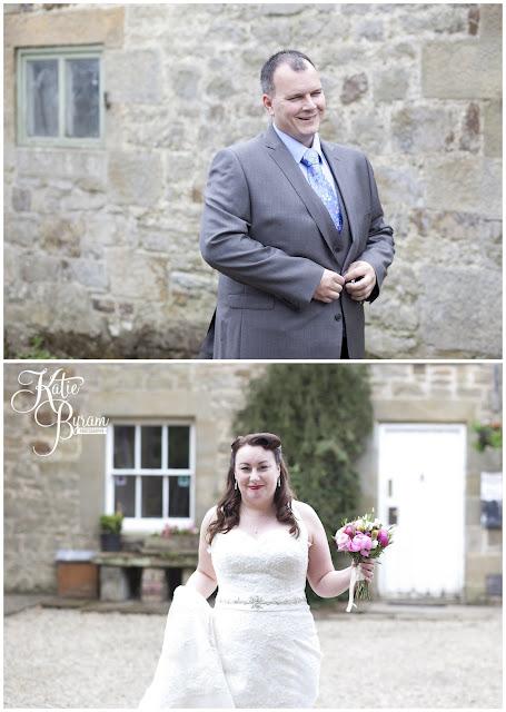 bride and groom first look, bride in window, bridal prep, vintage wedding, high house farm brewery wedding, northumberland wedding photography katie byram photography,