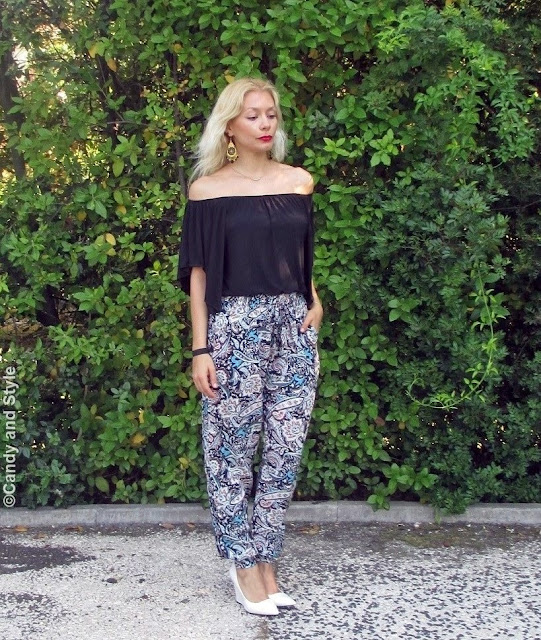 OffTheShoulderShirt+PaisleyPants+WhiteWedges+RedLips+BeachWaves - Lilli Candy and Style Fashion Blog