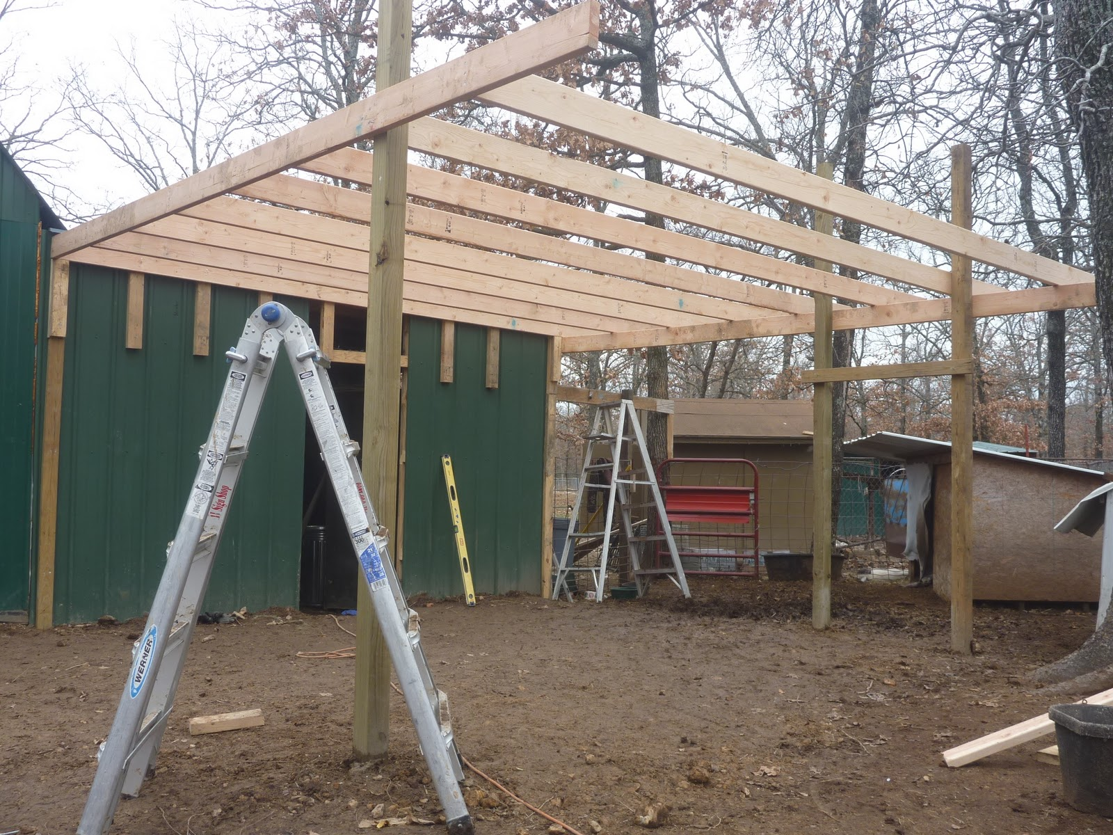 Seven acre ranch part 2 of building a loafing shed for How to build a tractor shed