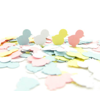 Pastel Chick Confetti Paper Punches Pink Blue Yellow Ducklings Die Cuts for Easter, Baby Shower, Scrapbooking