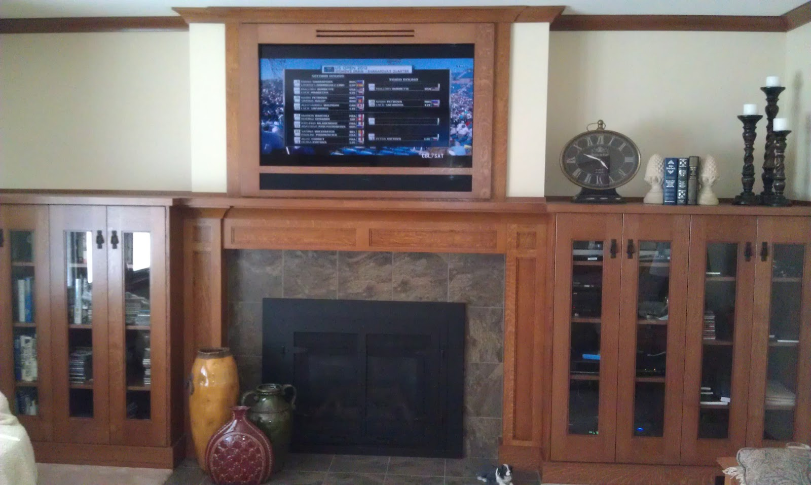 Craftsman Oak Fireplace Mantel And Entertainment Center