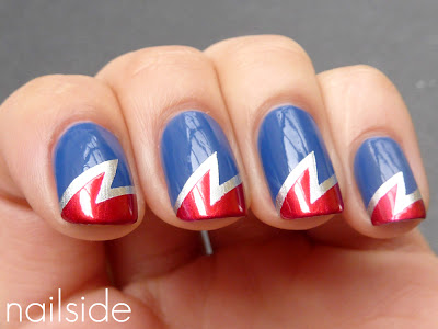 On my previous lightning bolt manis I got many comments saying how they  have a superhero quality, I really liked the comparison and I do have a  thing for ... - Nail Art Design: Superhero Nails
