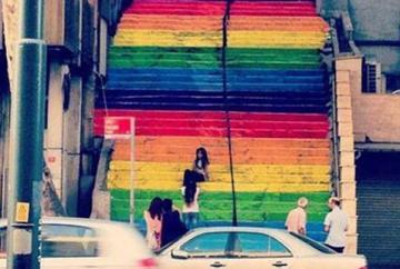 colored findikli stairs up to cihangir