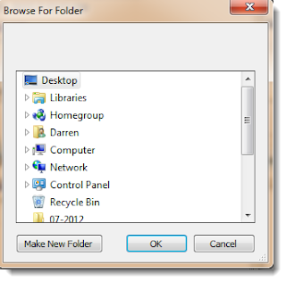 File tree selection of export folder.