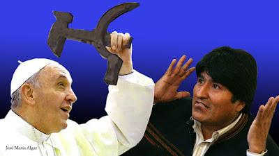 Evo Morales y el crucifijo regalado al Papa Francisco. La Hoz y el Martillo. 4