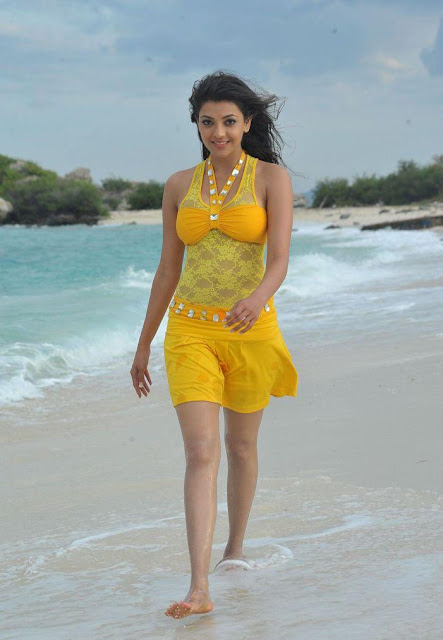 Kajal Agarwal in Yellow Mini Skirt, Kajal Agarwal in Western Clothes
