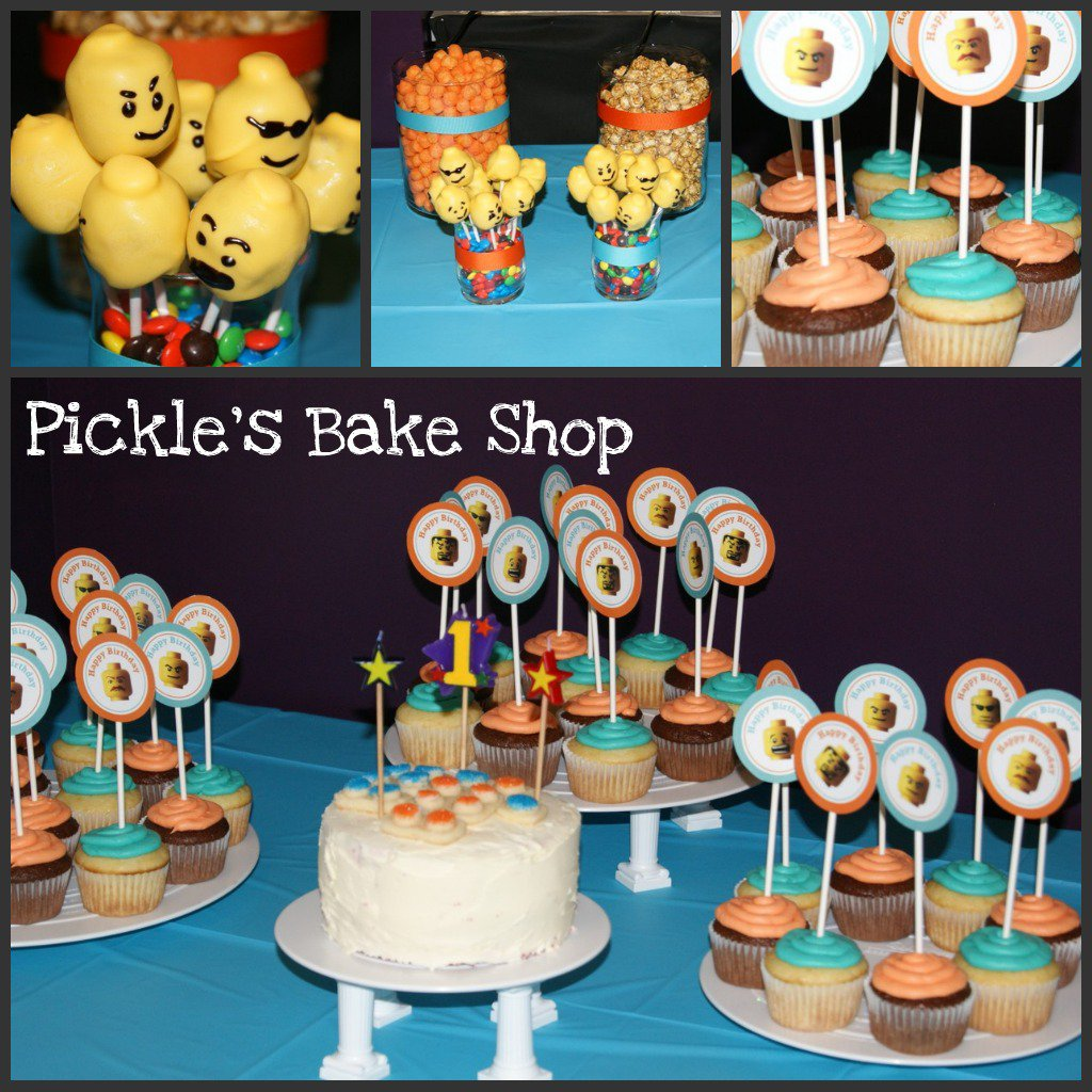 Pickle s bake shop lego themed first birthday party