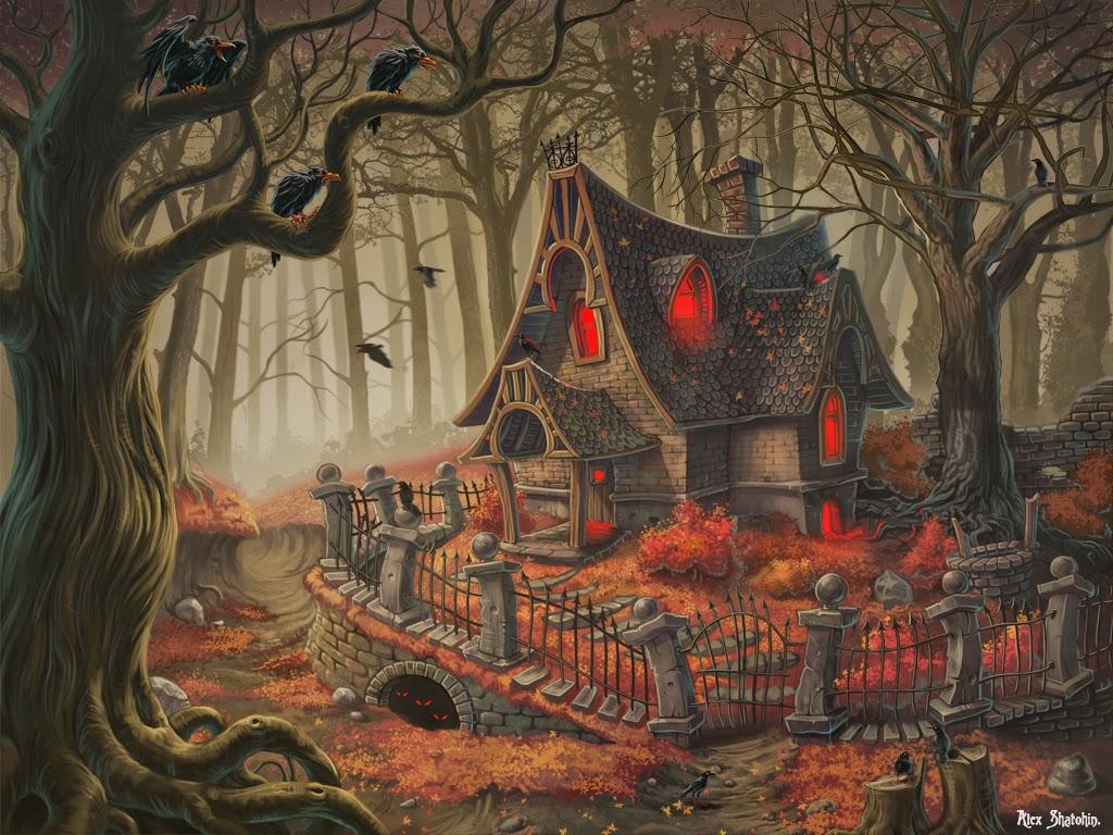 illustration de Alexander Shatohin représentant une maison de sorcière