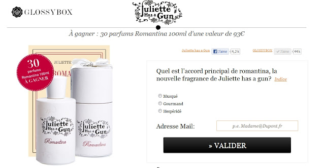 Jeu concours Juliette has a gun & Glossybox: 30 parfums Romantina à gagner