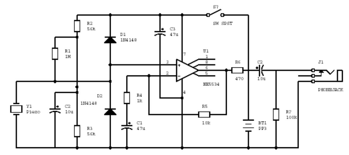 aufgebaut  build  piezo contact mic amplifier u2013low noise