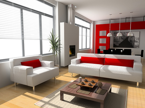 living room white red interior design style