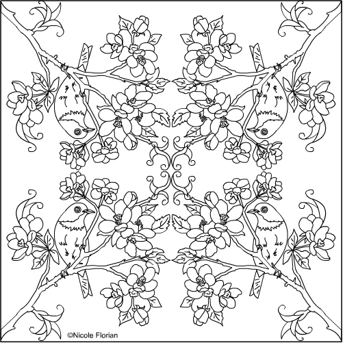 Nicoles Free Coloring Pages APPLE BLOSSOM MANDALA COLORING PAGES