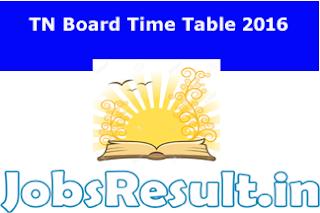 TN Board Time Table 2016