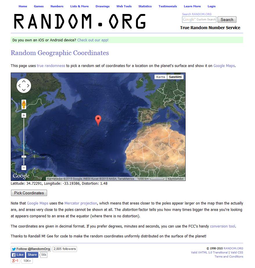 Random.org: Geographic Coordinates