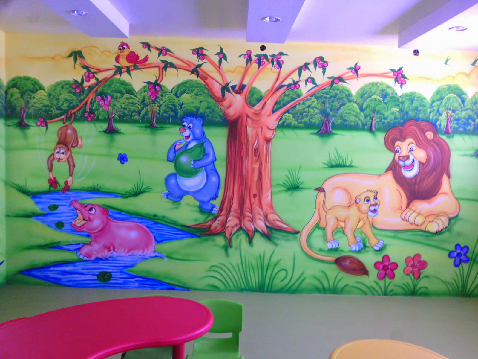 Wall Art For Play School : Play school wall painting cartoon kids room