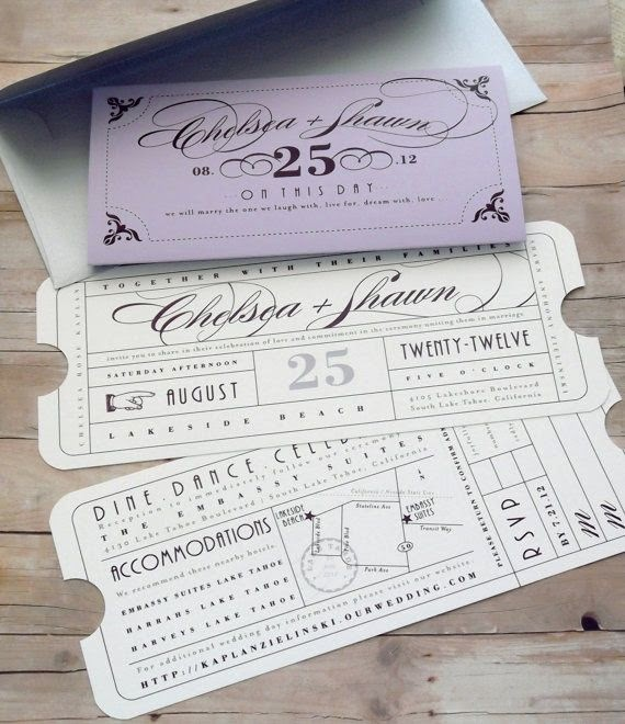 invitación boda ticket vintage
