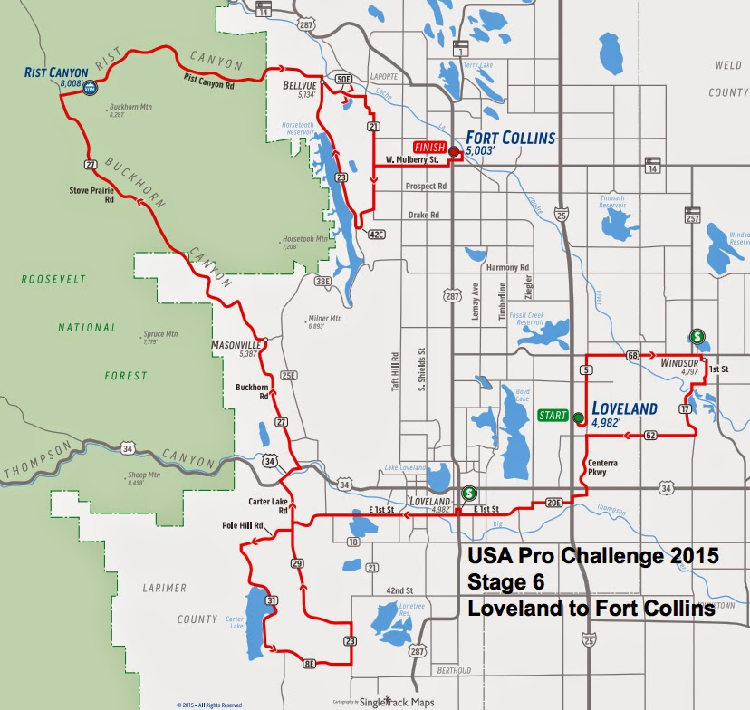 USA Pro Challenge Stage 6 route map 2015