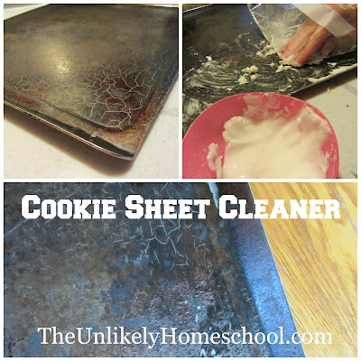 Cookie Sheet Cleaner recipe from Pinterest-The Unlikely Homeschool