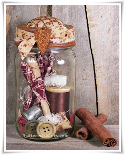 Primitive Mason Jar Sewing Kit